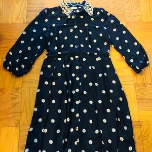 Eva Mendes silky black dress with daisies. Size M